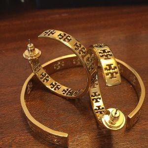 Tory Burch Gold TT Logo bracelet and earrings